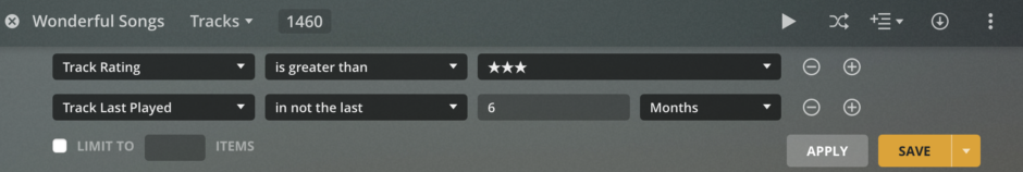 Plex screenshot where Track Rating is greater than 3 stars and track last played is not the last 6 months.